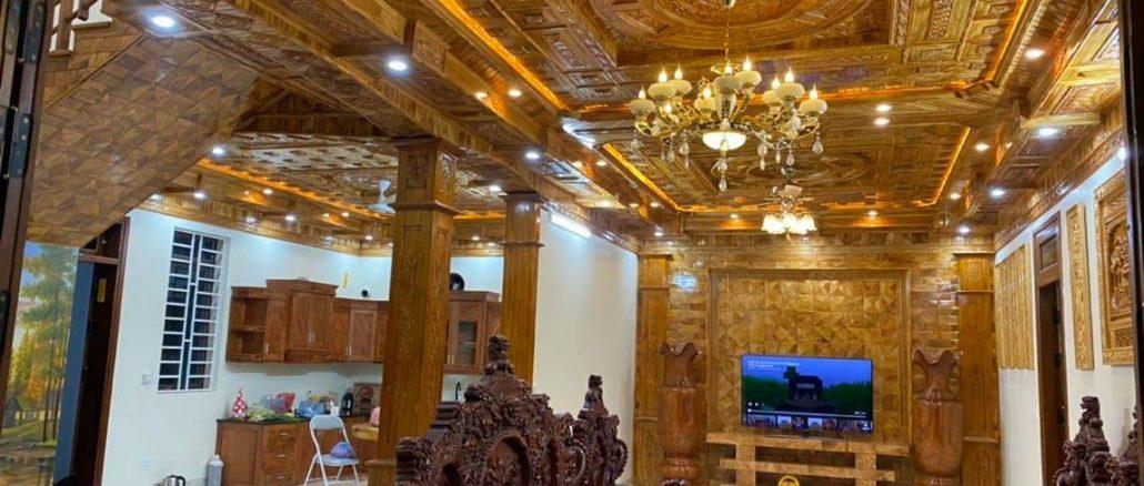 thi công trần gỗ tự nhiên tại Vĩnh phúc