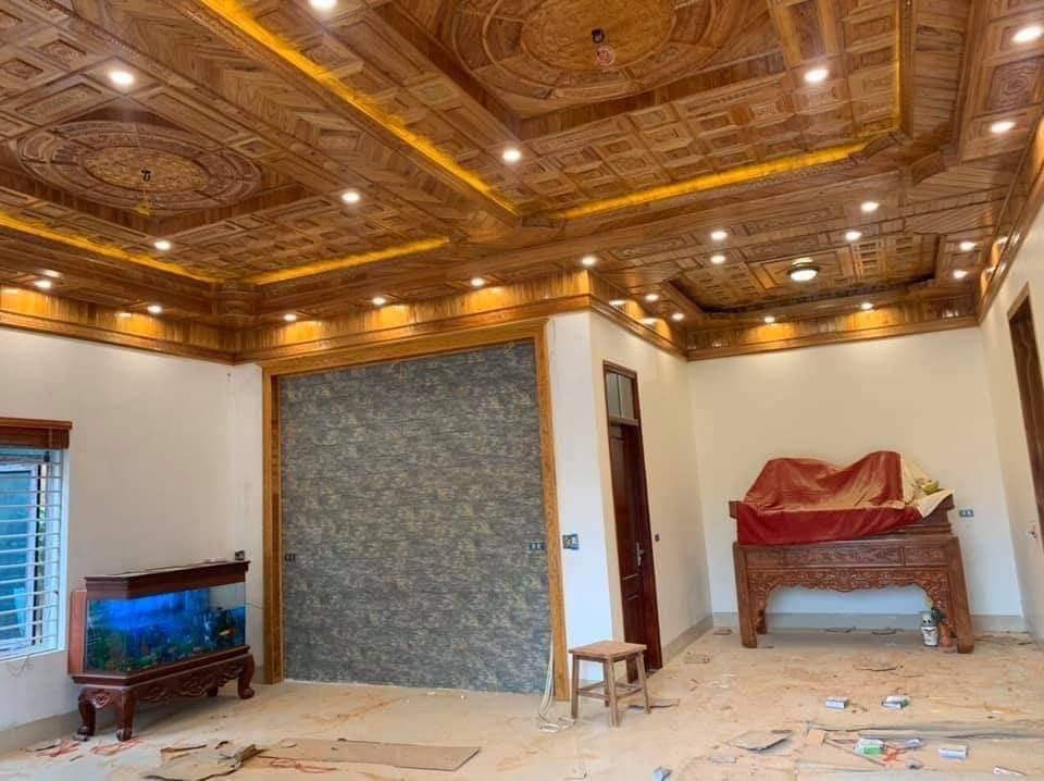trần gỗ xoan thi công tại Hà Nội