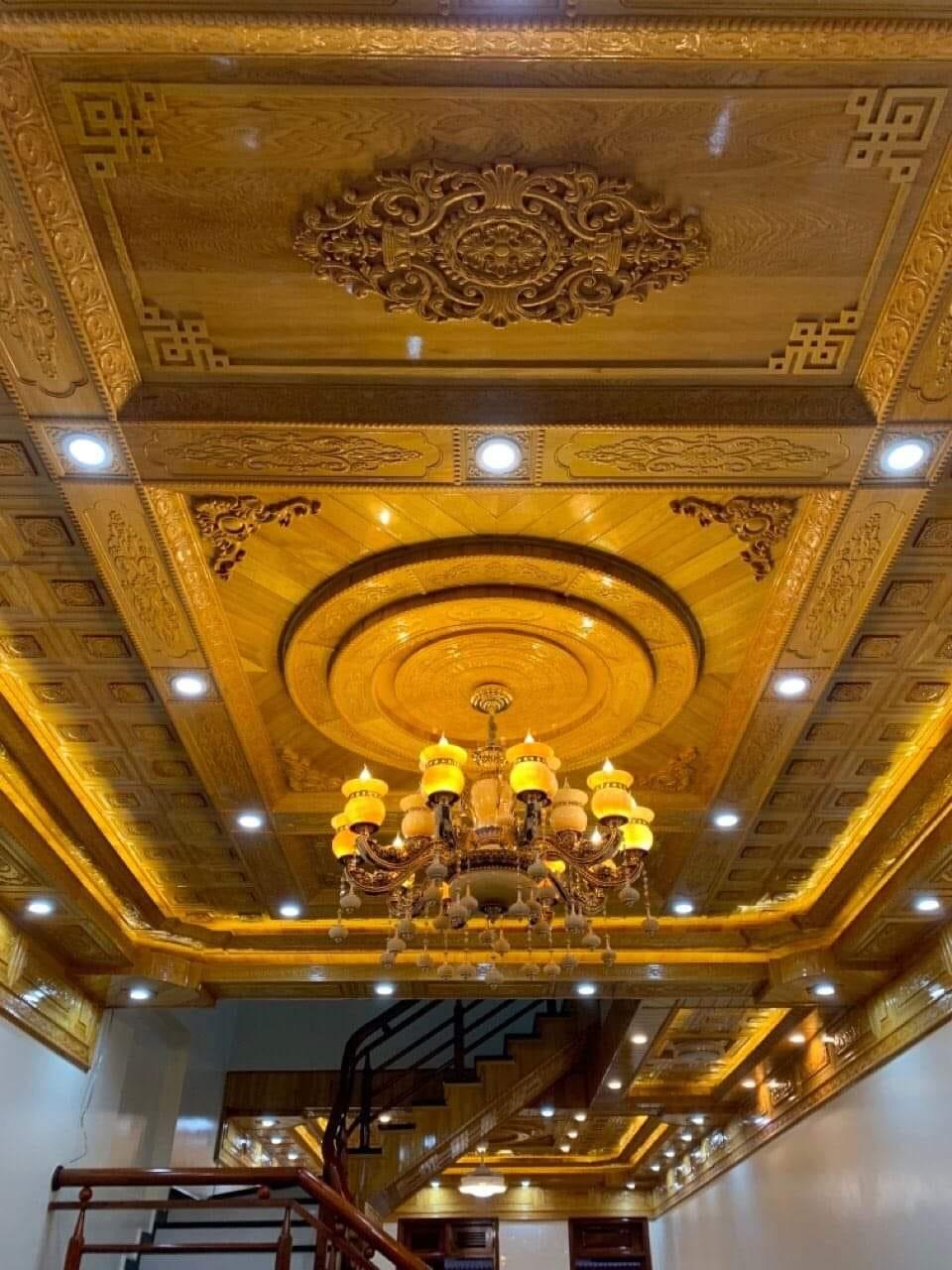 thi công trần gỗ Pơ mu tại Tân Sơn Phú Thọ
